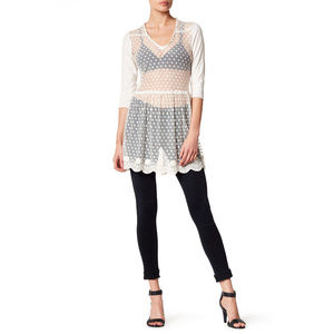 For Love and Liberty sheer dotted lace tunic dress